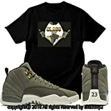 Custom T Shirt Matching Air Jordan 12 CP3 Olive Canvas Class 2003 JD 12-6-5-BLACK-M
