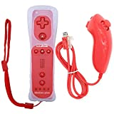 Wii Remote Game Control Gamepad, New 2 in 1 Built-in Motion Plus Remote and Nunchuk Controller with Silicon Case for Nintendo Wii and Wii U Gamepad Console(Red)