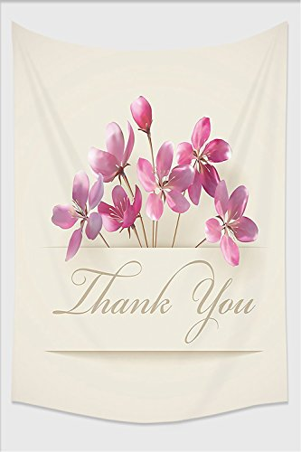 Nalahome-Cherry Blossoms Decor Collection Spring Flowers and Floral Thank You Gifts for Anniversary Teachers Design Accessories Pink Tapestry Wall Hanging Wall Tapestries 59L x 39.3W Inches