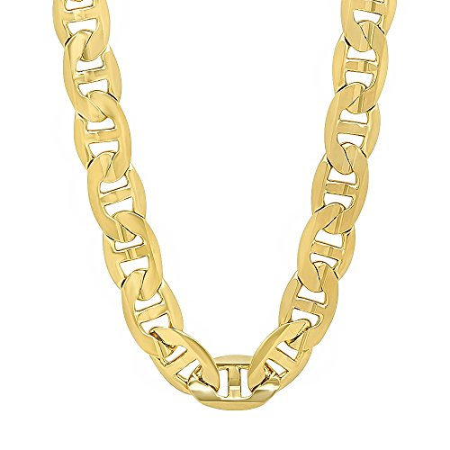 - The Bling Factory Men's 9mm 14k Gold Plated Mariner Link Chain Necklace, 36