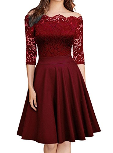 (Drewliet Women's Vintage Off Shoulder Floral Lace Boat Neck Formal Cocktail Party Evening Dress)