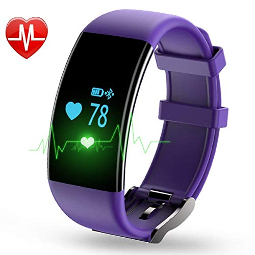 YOUNGFUN Womens Fitness Tracker Smart Watch IP68 Waterproof Multi Purpose Sleep/Heart Rate/Pedometer/Calories Activity/Phone Remind Monitor for iPhone 5,6,7,8,X or Android 4.3 Above (Purple)