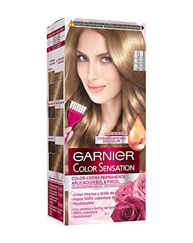🥇 Garnier Color Sensation coloración permanente e intensa reutilizable con bol y pincel – 7.1 Rubio Diamante. Pack de 3