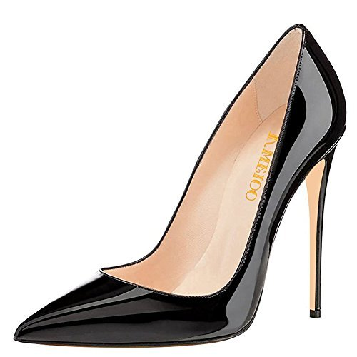 Kmeioo High Heels, Women's Pointed Toe High Heel Slip On Stiletto Pumps Evening Party Basic Shoes Plus Size-Black 11 M US from Kmeioo