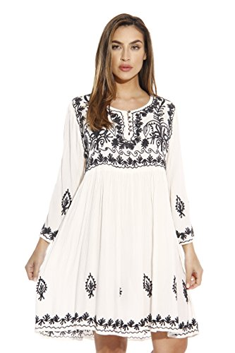 Boho-Chic Vacation & Fall Looks - Standard & Plus Size Styless - 21643-WHITE-2X Riviera Sun Dress / Dresses for Women
