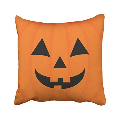 Accrocn Throw Pillow Covers Funny Vintage Halloween Orange Carved Happy Pumpkin Face Round Personalized Polyester 18 x 18 Inch Square Cushion Decorative Pillowcases With Hidden Zipper Home Sofa
