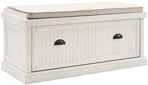 Wood Hall Bench (Crosley Furniture Seaside Entryway Bench - Distressed White)