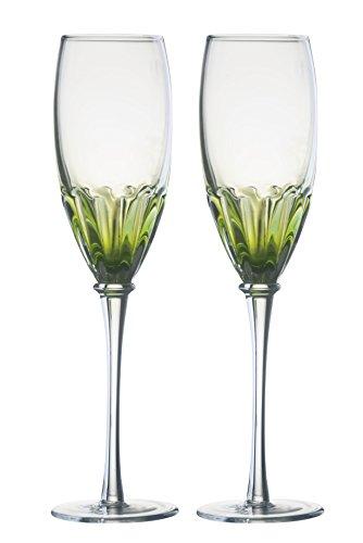 DRH Anton Studios Solar Set of 2 Champagne Glasses Flutes in Green by DRH