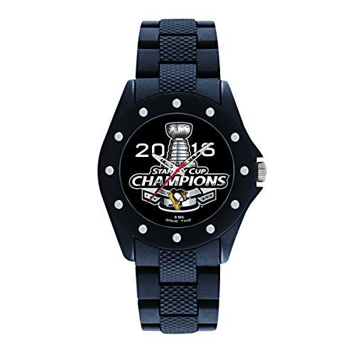 Game Time Men's 'Stanley Cup Champion 2016' Quartz Metal and Rubber Watch, Color:Black (Model: NHL-BKA-PIT-CH16)
