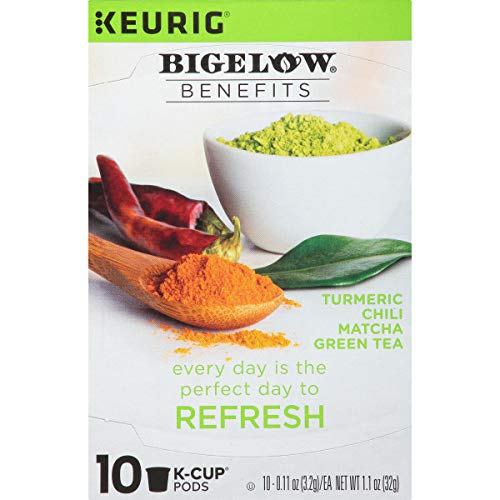 Bigelow Benefits Tumeric Chili Matcha Tea K-Cups, Refresh, 10 Count (Pack of 6)