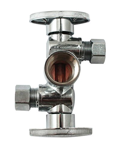 (Quarter Turn 3 Way Valve 1/2-Inch FIP by 3/8-Inch OD by 3/8-Inch OD Dual Handle, Lead-Free)