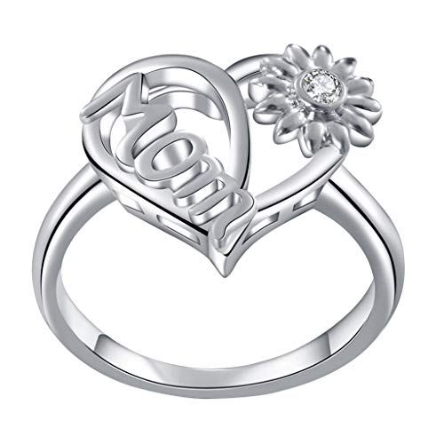 Dragonfly Pin Onyx - UNICLEE Heart Sunflower Vintage Love Mom Ring Jewelry for Birthday Mother's Day Gift (Silver, 10)