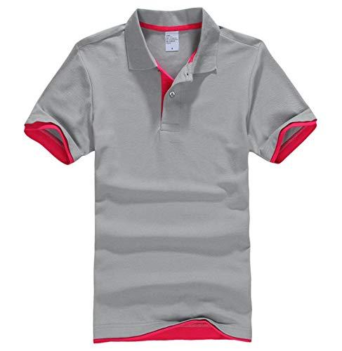 Men Designer Polos Men Cotton Short Sleeve Shirt Clothes Jerseys Golf Tennis Polos,Grey-Rose,XXL
