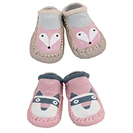 2 Pairs of Baby Boys Girls Indoor Slippers Anti-slip Shoes Socks 9-18 Months