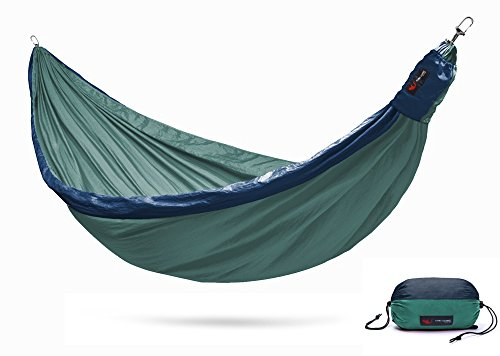 Flying Squirrel Outfitters 1st Ever Fully Adjustable Hammock, Sustainably Handmade Double Parachute Nylon Outdoor Travel Camping Hammock, Webbing Tree Straps