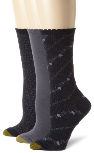 Gold Toe Women's Plus-Size 3 Pair Pack Crew Socks, Navy/Grey, One Size (Socks Wide Calf)