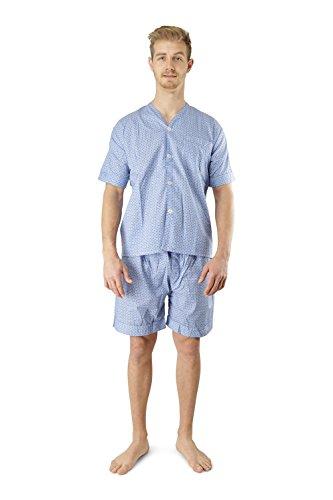 Men's Woven Pajama V-Neck Sleepwear Short Sleeve Shorts and Top Set, Sizes S/4XL - Blue Black Plaid - - Men Shaped V