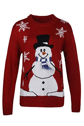 Christmas Pullover - Pink Queen Unisex Ugly Christmas Xmas Pullover Sweater Jumper Red Snowman M