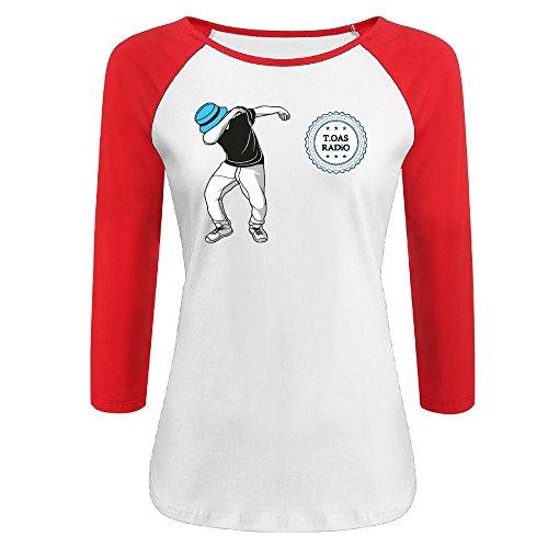 0% Cotton 3/4 Sleeve Athletic Baseball Raglan T-Shirt Red US Size XXL ()