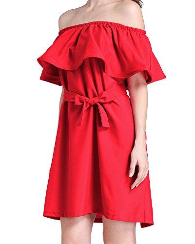 Vestido De La Playa Mujeres Verano Partido De Tarde Rojo