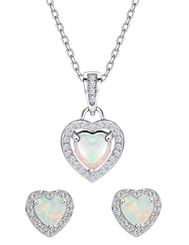Mints Opal Jewelry Set Sterling Silver Heart Pendant Necklace Stud Earrings October Birthstone Gemstone Jewelry for ()