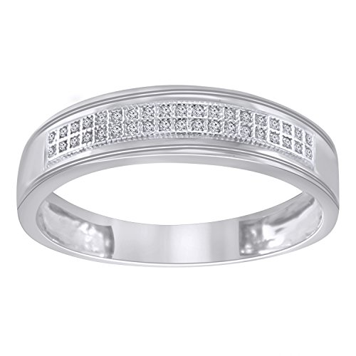 (Trillion Jewels Mens Wedding Band Ring 0.11 CT Round Cut Diamond in 14K White Gold Finish (12))