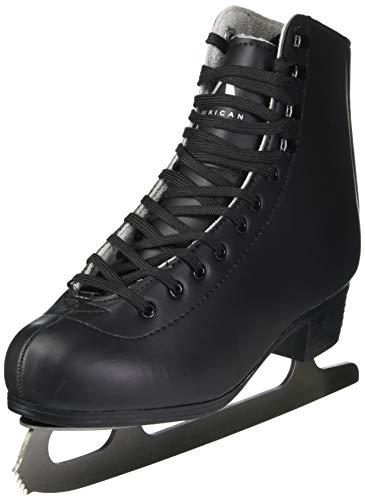 American Athletic Shoe Mens Leather Lined Figure Skates, Black, 10