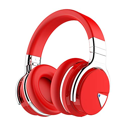 (COWIN E7 Active Noise Cancelling Bluetooth Headphones with Microphone Deep Bass Wireless Headphones Over Ear, Comfortable Protein Earpads, 30H Playtime for Travel Work TV Computer Phone - Red)