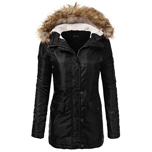 Discount DRESSIS Women's Zip Up Fur Hooded Militray Anorak Jacket for cheap