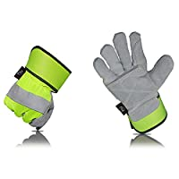 KIM YUAN Leather Work Gloves, Anti-slippery & Dirt-resistant, Perfect for Gardening/Construction/Motorcycle, Men&Women M/L/XL