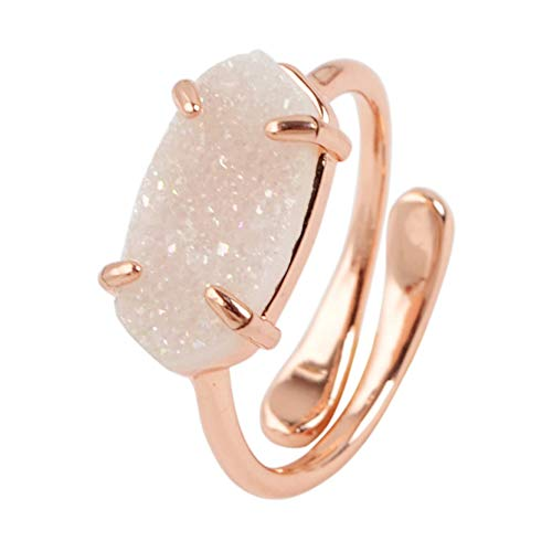 (ZENGORI 1 Pcs Rose Gold Plated Prong Setting Hexagon Natural AB Color Agate Drusy Adjustable Ring)