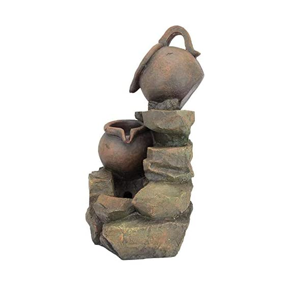 Water Fountain with LED Light - LaTaverna Water Jug Garden Decor Fountain - Outdoor Water Feature - WATER JUG GARDEN FOUNTAIN - Sure to be the crowning statement on your garden patio, multiple cascading streams of water flow over the rock fountain design to create an in-home oasis and peaceful, meditative atmosphere. Volts - 110 V SPARKLING LED LIGHTS - Enjoy our water feature LED fountain lights in the evening on your garden patio with the sparkling glow of low voltage LED lights. LOW MAINTENANCE OUTDOOR DECOR - Hand-cast using real crushed stone bonded with durable designer resin, our easy to set up water fountains require no additional plumbing and include adjustable UL approved, indoor outdoor fountain pumps. Just assemble, fill them with water to completely submerge the pump and plug it into a standard electrical outlet. Now enjoy the sounds of water music! - patio, outdoor-decor, fountains - 41O fJaVS8L. SS570  -