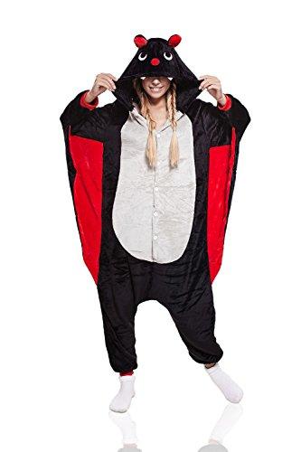 Adult Bat Kigurumi Animal Onesie Pajamas Plush Onsie One Piece Cosplay Costume (S, black, white, (Where Can I Get Cheap Halloween Costumes)