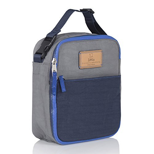 (TWELVElittle Fully Insulated Interior 100% Nylon Courage Lunch Bag - BPA, PVC and Phthalate Free, Grey/Navy)