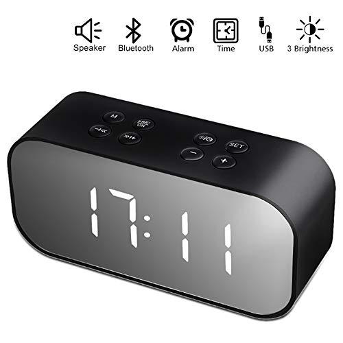 Echoming Bocina Bluetooth, Estéreo Altavoz Inalámbrico Bluetooth Portátil Micrófono Incorporado Reloj de Alarma, Entrada...
