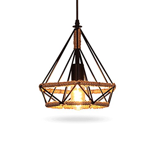 Pendant Light, Sanguinesunny Ceiling Lamp Birdcage Shape Chandeliers 1-Light Hanging Light Fixture With Hemp Rope E27 Bulb 110-120V