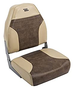 Wise 8WD588PLS-662 Mid-Back Fishing Boat Seat with Logo, (Sand/Brown)