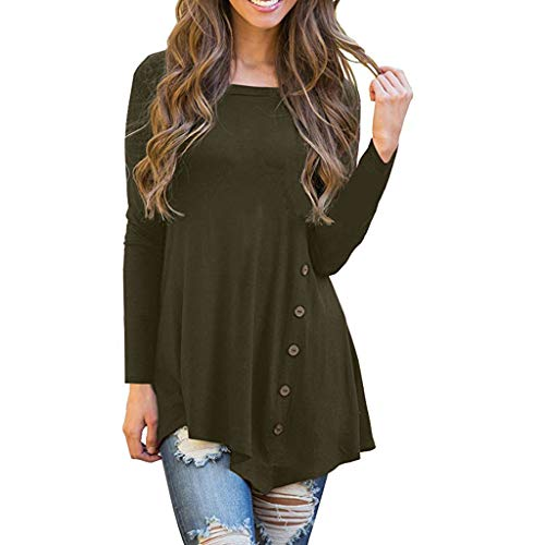 BEAUTYVAN Long Sleeve Blouse, Women Plus Pullover Crew Neck T-Shirt Button up Blouse Casual Tunic Tops Army Green ()