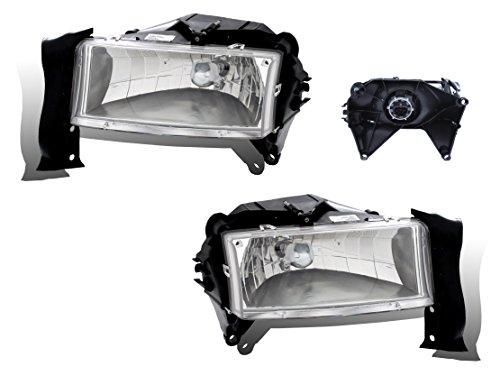 SPPC Crystal Headlights Chrome Assembly Set For Dodge Dakota / Durango - (Pair) Driver Left and Passenger Right Side Replacement (03 Dodge Dakota Crystal)