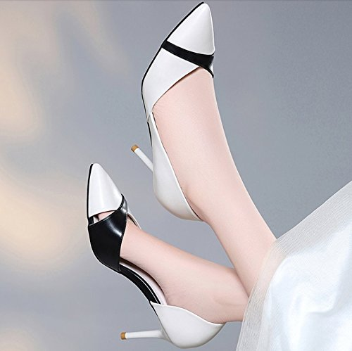 Work Tip Elegant Women'S Sandals High White Elegant Shoes Single Shoes Followed Shoes Leisure MDRW Heeled Fine Accompanied 7Cm Mother Spring By Lady 37 nEFq8xX