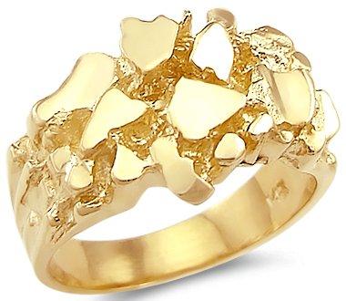 New 14k Solid Yellow Gold Mens Nug Ring Band Amazon