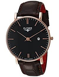 ELYSEE Men's 'Classic-Edition' Quartz Gold and Leather Casual Watch, Color:Brown (Model: 98005.0)