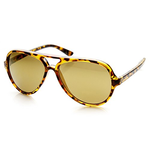 Tortoise Brown Frame (Classic Teardrop Flash Mirror Color Lens Plastic Aviator Sunglasses 55mm (Tortoise Brown))