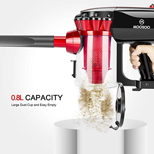 MOOSOO Vacuum Cleaner Corded Stick Vacuum with HEPA Filter 17Kpa Powerful Suction 2 in 1 Handheld Vacuum for Hard Floor D600