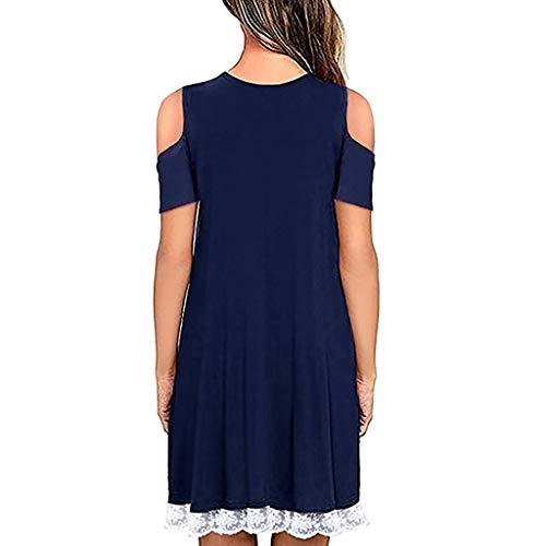 Shoulder Lace Fashion Vpass Elegante Evening Sexy le Abiti unita Casual tinta donne blu One Short Party Dress Summer per qSWHwBCF