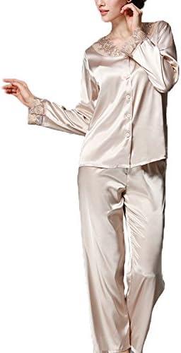 Asskyus Conjuntos de Pijama de satén para Mujer Camisas Bordadas de Encaje Camisas y Pantalones de Dormir