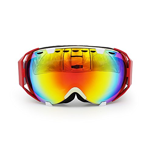 Ediors Windproof OTG Protective Safety Glasses Eye-wear for Skiing Snow Skate Winter Sports- Anti Fog Double Lens All Mountain / UV Protection (Red & White Frame, Multi - Eyewear Skiing