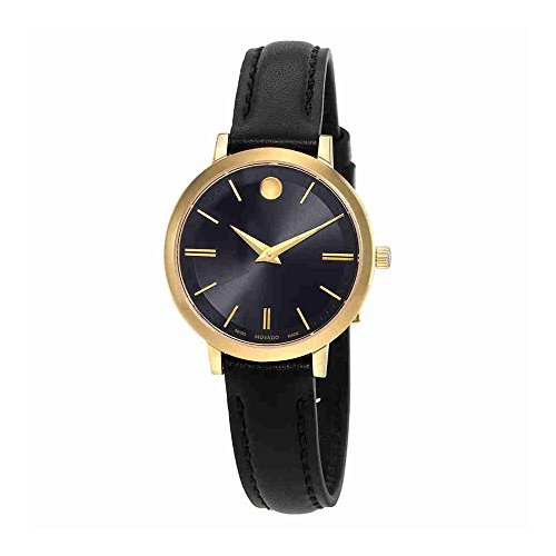 Movado Women's Ultra Slim 28mm Black Leather Band Gold Plated Case Swiss Quartz Analog Watch 0607095