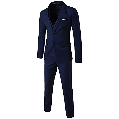WEEN CHARM Men's Two Button Notch Lapel Slim Fit 3-piece Suit Blazer Jacket Tux Vest & Trousers Set Notch Lapel Vest