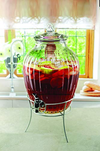 Circleware Westside Glass Beverage Dispenser with Metal Stand and Lid, Entertainment Kitchen Glassware Drink Pitcher for Water, Juice, Wine, Kombucha & Cold Drinks, Huge 2.7 Gallon, Clear by Circleware (Image #2)